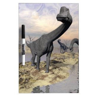 Brachiosaurus dinosaurs near water - 3D render Dry Erase Board