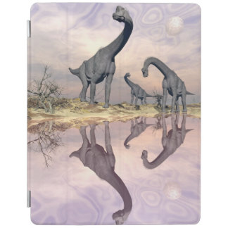 Brachiosaurus dinosaurs near water - 3D render iPad Cover
