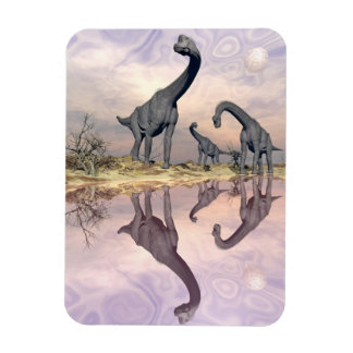 Brachiosaurus dinosaurs near water - 3D render Magnet