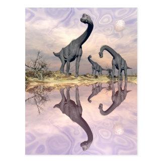 Brachiosaurus dinosaurs near water - 3D render Postcard