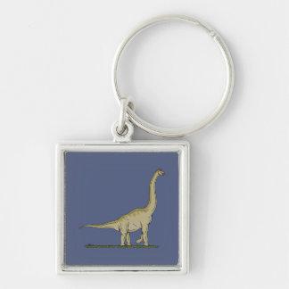 Brachiosaurus Silver-Colored Square Keychain