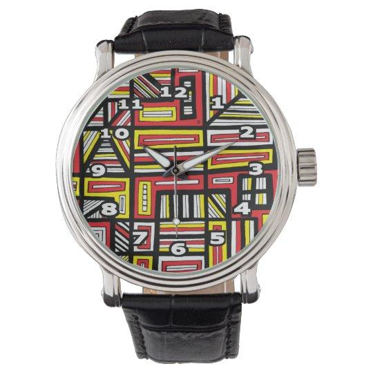 """Brack"" Black Vintage Leather Watch"