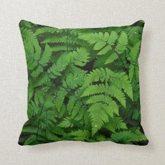 Bracken fern with rain drops, Washington State Throw Pillow