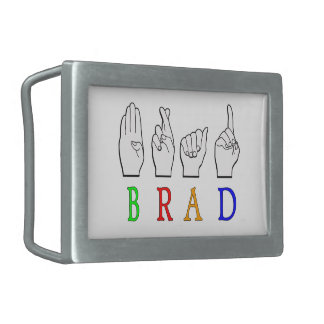 BRAD FINGGERSPELLED ASL NAME SIGN DEAF BELT BUCKLES