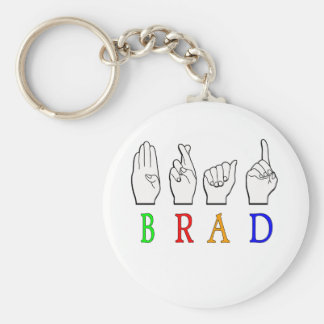 BRAD FINGGERSPELLED ASL NAME SIGN DEAF KEYCHAIN