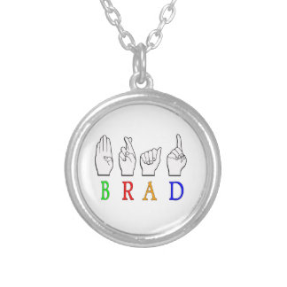 BRAD FINGGERSPELLED ASL NAME SIGN DEAF SILVER PLATED NECKLACE