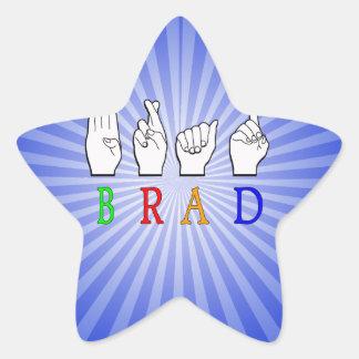 BRAD FINGGERSPELLED ASL NAME SIGN DEAF STAR STICKER