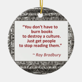 Bradbury on books ceramic ornament
