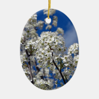 Bradford Pear Blooms Ceramic Oval Ornament