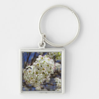 Bradford Pear Blooms Silver-Colored Square Keychain