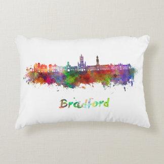 Bradford skyline in watercolor decorative pillow