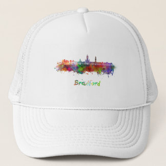 Bradford skyline in watercolor trucker hat
