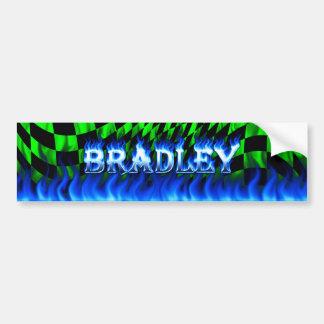 Bradley blue fire and flames bumper sticker design