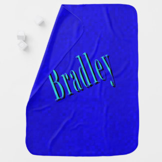 Bradley, Name Logo On Hot Blue Mosaic, Baby Blanket