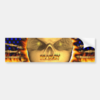 Bradley skull real fire and flames bumper sticker