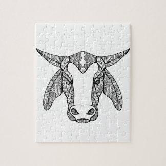 Brahma Bull Head Mandala Jigsaw Puzzle