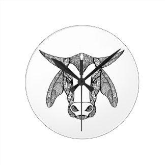 Brahma Bull Head Mandala Round Clock
