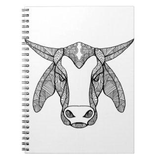 Brahma Bull Head Mandala Spiral Notebook