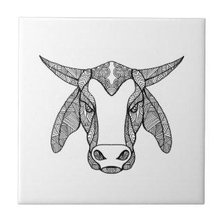 Brahma Bull Head Mandala Tile