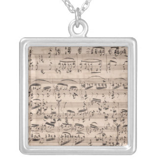 Brahms Manuscript Silver Plated Necklace