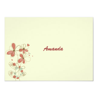 """Braided Flowers Personalized Stationery Notecard 4.5"""" X 6.25"""" Invitation Card"""