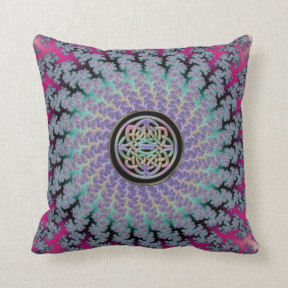 Braided Fractal Rug with Rainbow Celtic Knot Throw Pillow