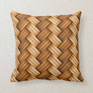Braided wicker basket woven throw pillow