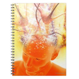Brain activity, conceptual computer artwork. spiral notebooks