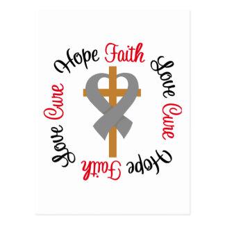Brain Cancer Faith Hope Love Cross Postcard
