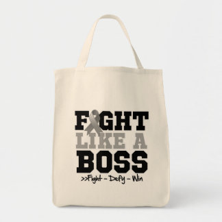 Brain Cancer Fight Like a Boss Grocery Tote Bag