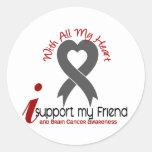 BRAIN CANCER I Support My Friend Round Stickers