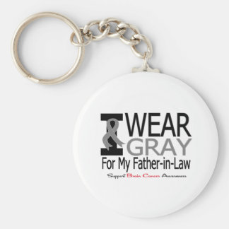 Brain Cancer I Wear Gray Ribbon My Father-in-Law Basic Round Button Keychain