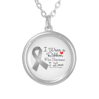 Brain Cancer Ribbon Someone I Love Round Pendant Necklace