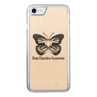 Brain Disorder Awareness with Butterfly Ribbon Carved iPhone 8/7 Case