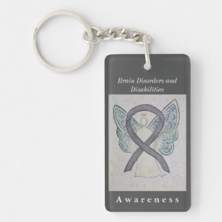Brain Disorders and Disabilities Ribbon Keychain