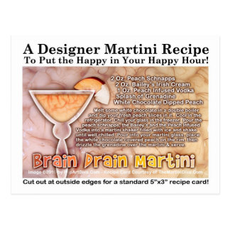 Brain Drain Halloween Martini Recipe Postcard