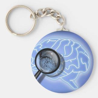 Brain fingerprint basic round button keychain