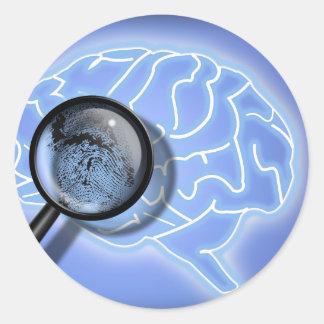 Brain fingerprint round sticker