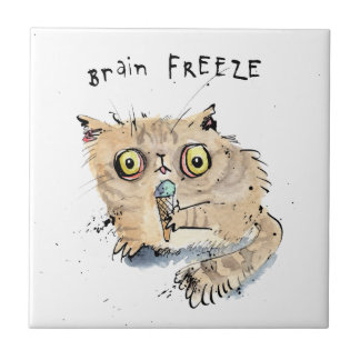 Brain freeze Kitten Tile