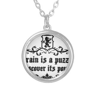 Brain Is A puzzle Discover Its Power Silver Plated Necklace
