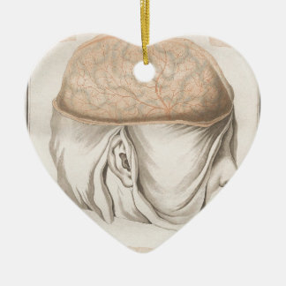 Brain One - Neuroanatomy Ceramic Heart Ornament