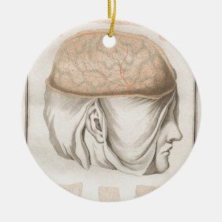 Brain One - Neuroanatomy Round Ceramic Ornament