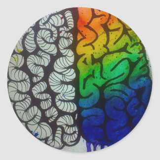 Brain Round Sticker