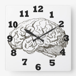 Brain Square Wall Clock