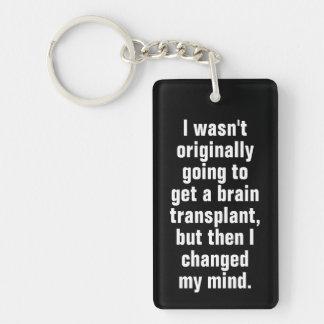 Brain Transplant Pun Black Keychain