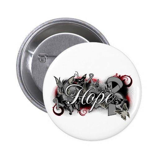 Brain Tumor Hope Garden Ribbon Buttons