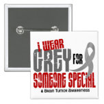 Brain Tumour I Wear Grey For Someone Special 6.2 2 Inch Square Button
