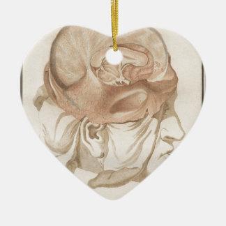 Brain Two - Neuroanatomy Ceramic Heart Ornament