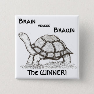 Brain vs. Brawn Badge 2 Inch Square Button