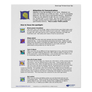Brainology® Poster 3: Attention and Concentration